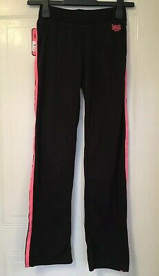 New Lonsdale Girls Black / Pink Jogging Bottoms for 9-10Yrs