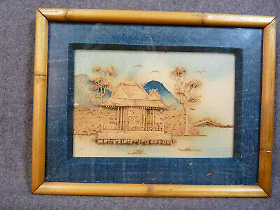 Unusual Japanese or Chinese Finely Carved And Framed Shore Scene