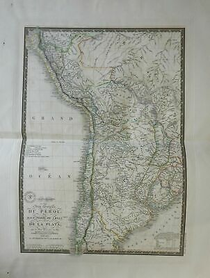Peru Bolivia Paraguay Uruguay Chile 1836 Brue large detailed map hand color