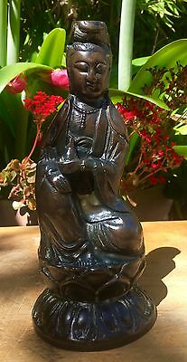 ANTIQUE CHINESE BRONZE STATUE 18th C. QING KANGXI GUANYIN BUDDHA / SIGNED
