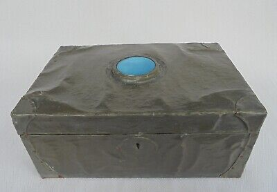 Vintage Hand Made Arts & Crafts Pewter Box With A Turquoise Cabochon