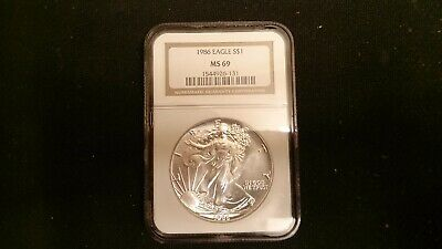 1986 American Silver Eagle- NGC MS69