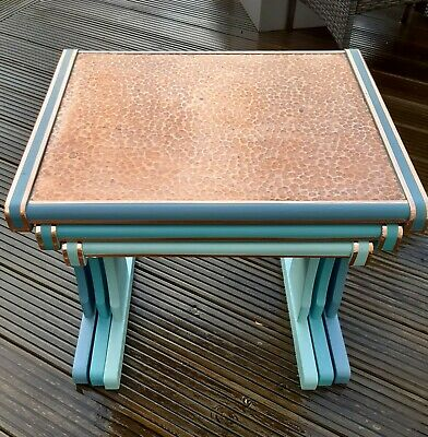 REDUCED Mid century G plan, retro up-cycled nest copper top tables 3 aqua shades