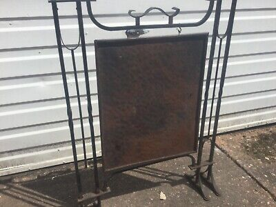 Antique  aesthetics movement Wrought Iron and Copper Fire Screen