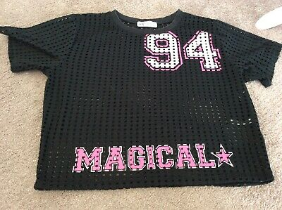 Girls 10-12 Top Black Pink Mesh H&m 94 Magical Crop Casual Sports