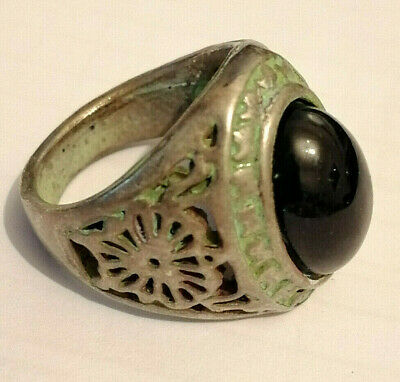 ANCIENT Medieval Silvered Ring Decorated