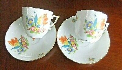 Herend Tulipe Bouquet TB Décor 2 Porcelain Cups with Saucers [Hand Painted Pair