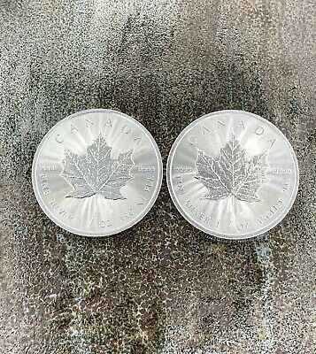 Lot of 2 2019 Canadian Silver Maple Leaf Coins Uncirculated Minor Imperfections