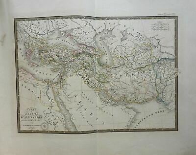 Empire of Alexander the Great Macedonia 1822 Brue large detailed map hand color