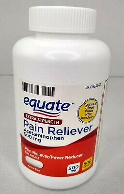 Acetaminophen 500 Caplets 500mg Extra Strength (Compare to Tylenol) Equate NEW