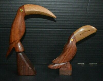 2  Wooden Toucan Tropical Bird Statues Hand Carved