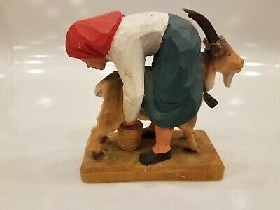 Henning Norway Hand Carved Girl Milking Goat 1970's