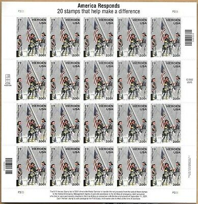 America Responds 9/11 2001 Heroes USA First Class Flag Stamp Sheet of 20 USPS US