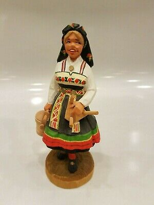 Henning Norway Hand Carved Girl with Milking Stool 1970's