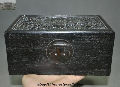 "8""Old Chinese Palace Rosewood Wood Carved Dragon Totem Jewelry Boxstorage boxes"