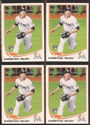 CHRISTIAN YELICH 2013 Topps Update US290 Rookie Card LOT x4 - Brewers RC