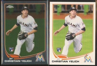 CHRISTIAN YELICH 2013 Topps Update US290 + Update Chrome MB-47 LOT x2 Brewers RC