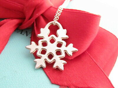 "Tiffany & Co Silver Snowflake Snow Flake Charm Pendant 16"" Necklace"