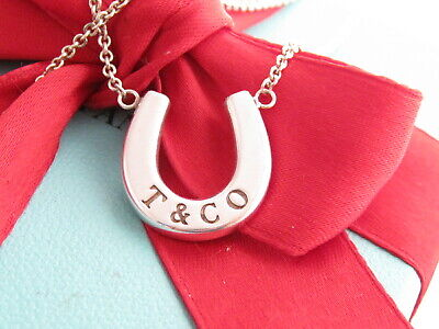 "Tiffany & Co Sterling Silver Horseshoe Pendant 18"" Necklace Box Pouch"