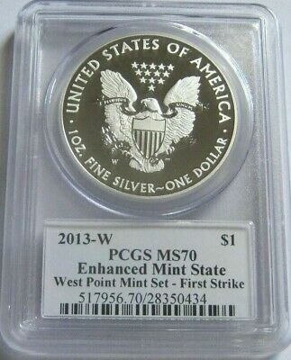 2013-W PCGS MS70 FIRST STRIKE Enhanced AMERICAN SILVER EAGLE ~West Point Mint~