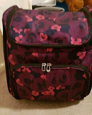 Couture Creations Rolling Travel Craft Trolley Tote - Floral Pattern