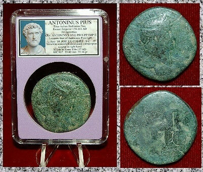 Ancient Roman Empire Coin Of ANTONINUS PIUS Securitas Seated Large Sestertius