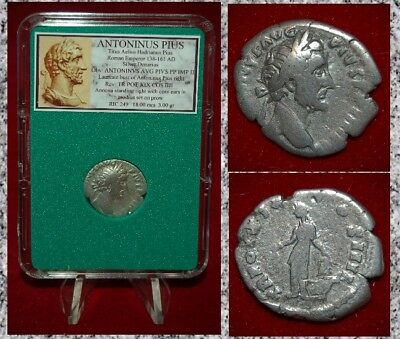Roman Empire Coin ANTONINUS PIUS Annona With Corn Ears Reverse Silver Denarius