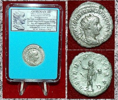 Ancient Roman Coin Of GORDIAN III Sol on Reverse Silver Antoninianus