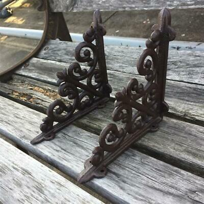 2 Cast Iron Antique Style HEART Brackets, Garden Braces RUSTIC Shelf Bracket