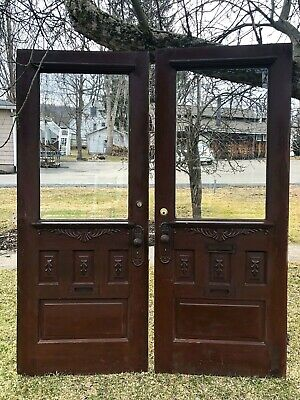 Antique Victorian Entry Doors w/Heavy Beveled Glass - Matching Pair Late 19thC