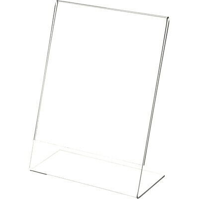 """Plymor Clear Acrylic Sign Display / Literature Holder (Angled), 6"""" W x 8"""" H"""