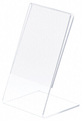 """Plymor Clear Acrylic Sign Display / Literature Holder (Angled), 3"""" W x 5"""" H"""