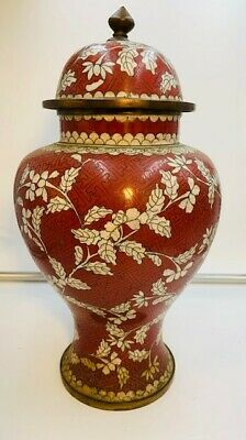 """SALE!!! Antique Chinese Red Cloisonne with White Flowers Vase w/ Lid - 11.75"""""""