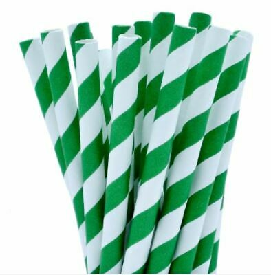 Green And White Party Drinking 100% Eco Biodegradable Compostable Paper Straws