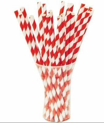 """Red And White Striped Paper Straws 8"""" (20cm) Biodegradable Compostable 6mm Bore"""