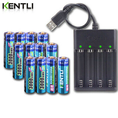 KENTLI Batteries AA 1.5V 3000mWh Li-ion Rechargeable Battery + Charger BIG SALE
