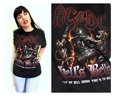 ACDC HELLS BELLS Vintage T Shirt Tank Top Grunge Festival Rock Music Band Large