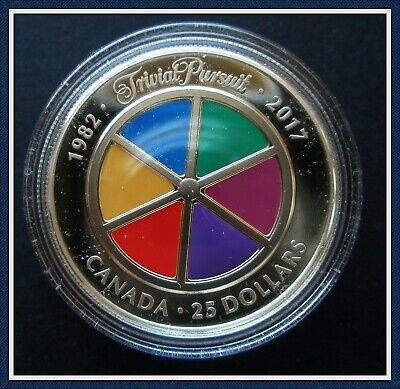 "Silver (99.99%)Fine $25 Piedfort ""Trivial Pursuit"" coin in Box as new condition."