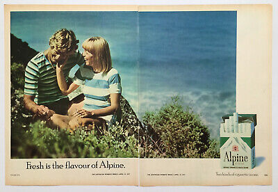 Alpine Cigarettes Man & Lady In Dunes Near Beach ~ Two Page PRINT AD 1977