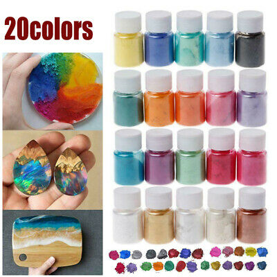 20 Colors Resin Epoxy Dye Shimmery Pigment Powder Mica Mineral Powder Tool UK