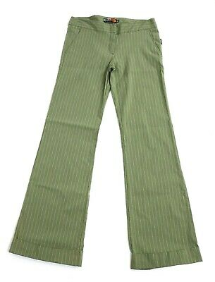 """Face Off Olive Green Pinstripe 90s Bell bottom pants Flares Rave Cuff 30"""" W Y2K"""