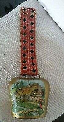 Vintage Dutch Cow Bell with Village Scene to Front & Patterned Ribbon - C1960s
