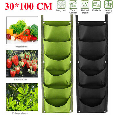 7 Pocket Garden Wall Hanging Planter Grow Bag Plant Pouch Strawberry Flower Bags