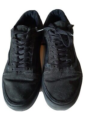VANs Old Skool Skate Shoes all Black Size8 Classic Canvas Sneakers