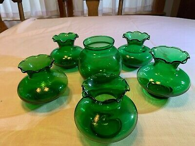 6 SMALL ROUND ANCHOR HOCKING FOREST GREEN Vases (5) Matching Free Shipping 2 U!!