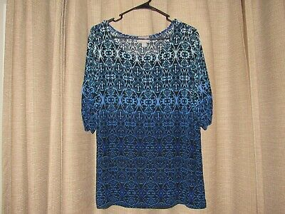 CHICOS CHICO'S TRAVELERS 2 womens large 12 black blue slinky shirt excellent