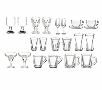 Dollhouse Miniature Palstic Martini Glassware Drinking Glasses Set of 4 FA40325