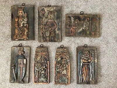 RARE SIGNED ~ 7 Hand Carved Solid Wood Figure Tiles / Panels ~  Made In Spain