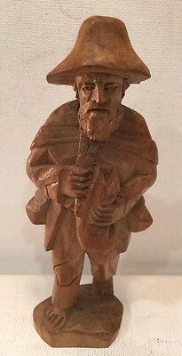 Collectible Hand Carved Wood Man Figurine Farmer