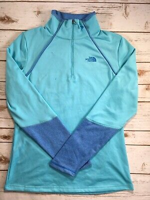 Womens The North Face 100 Cinder 1/4 Zip Pullover Yoga Lightweight Blue M DEFECT